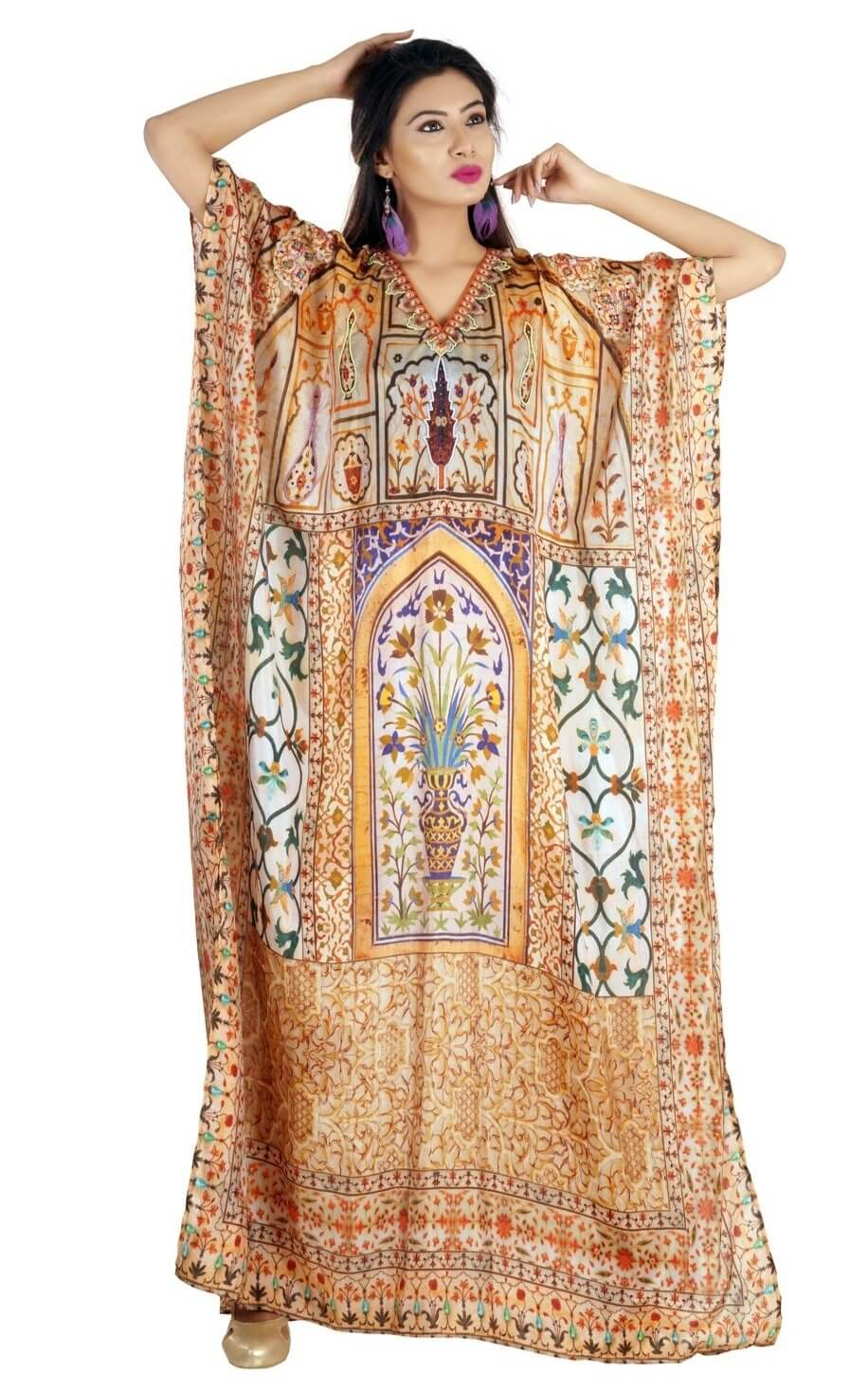 Abstract floral print with lovely embellished neckline beads over it - Silk kaftan
