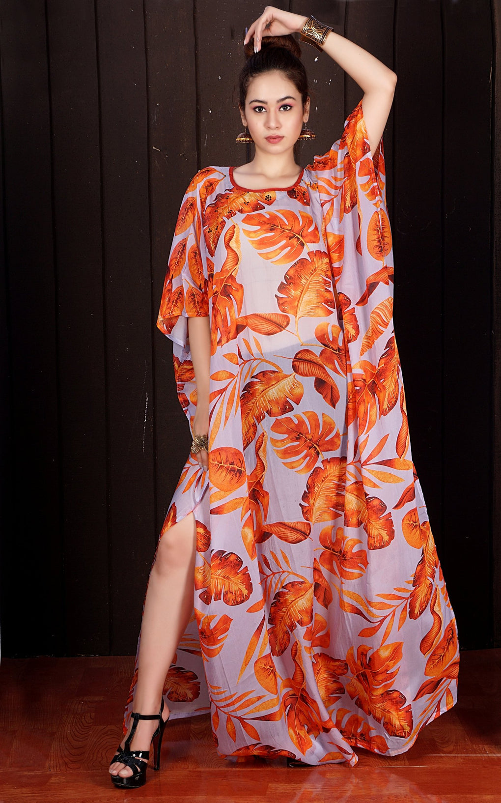 Luxe beach kaftan Dreamy Long Silk Kaftan with Embellished Autumn Leaves Design - Silk kaftan