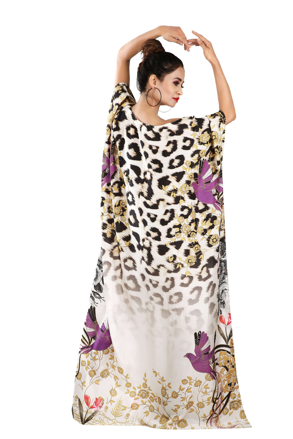Boat neck Maxi Dress Plus Size Animal Print kaftan