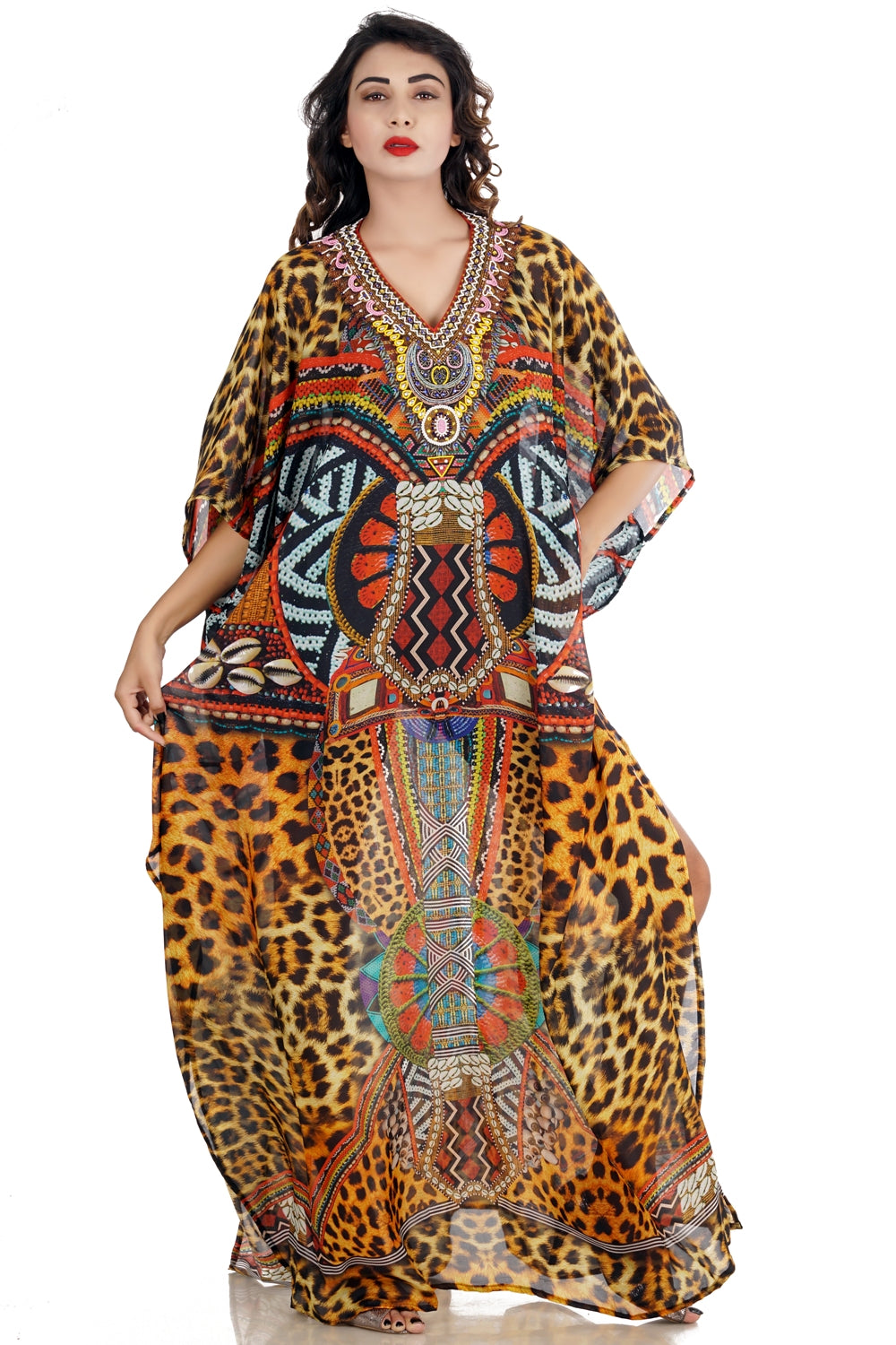 Soft and Downy alike Luxe beach kaftan Leopard print Long Designer Silk Kaftan with Clam shell patterns - Silk kaftan