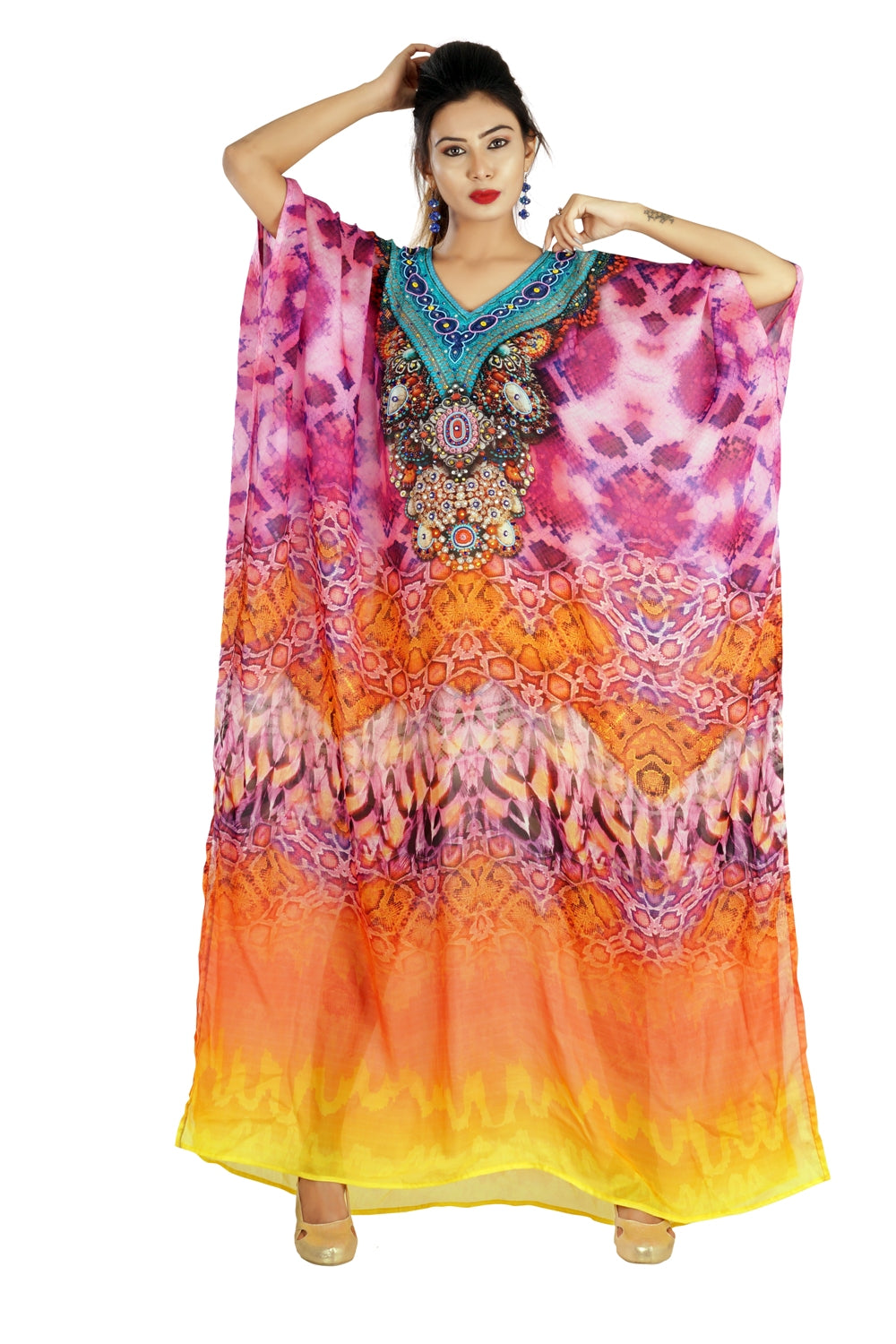 Feminine Luxe beach kaftan Silk Long Kaftan with Classic Cami Straps printed all over for a formal look - Silk kaftan