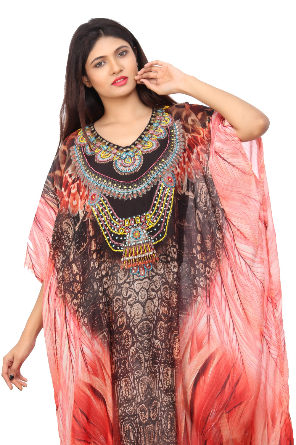 Python print over kaftan Cover with tribal pattern near neckline jewelled up with beads and unique style luxe beach kaftan - Silk kaftan