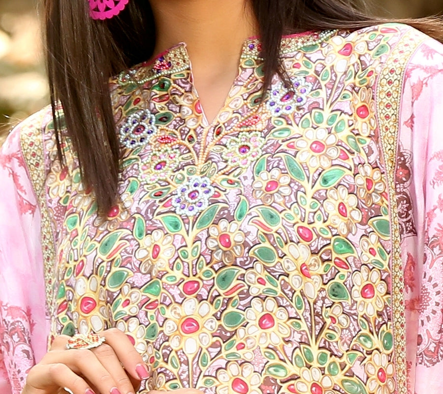Graceful Full length pink colored Evening Kaftan Cover up printed Abstract Floral - Silk kaftan