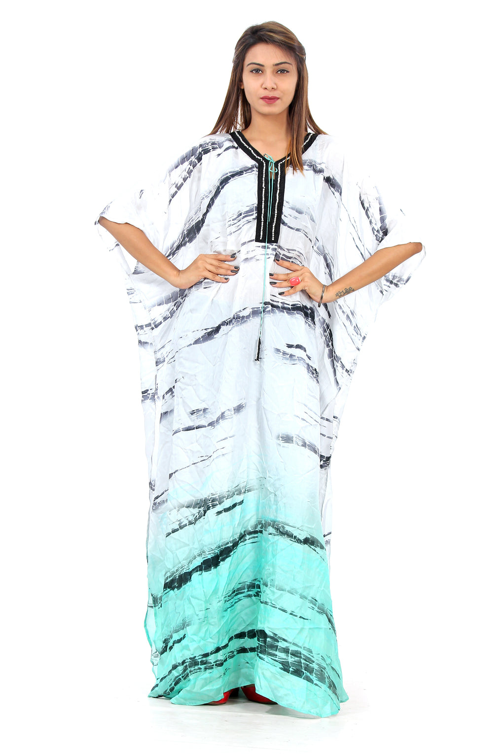 White zebra print beach cover up with blue aesthetic digitally printed lace Up silk kaftan - Silk kaftan
