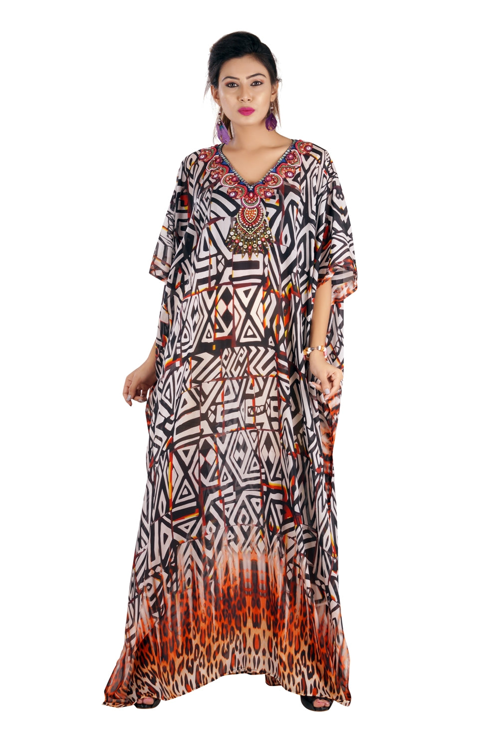 Geometric Patterns with Basic Animal Print at the Bottom of Maxi Long pool party kaftan - Silk kaftan