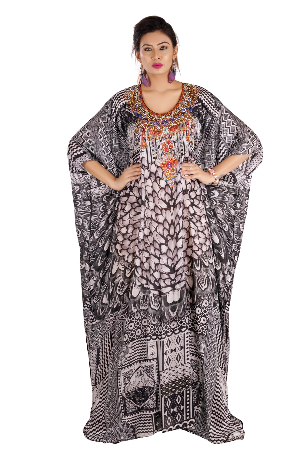 Beach party caftan designer silk kaftan cruise wear kaftan jewelled kaftan luxury resort wear kaftan - Silk kaftan