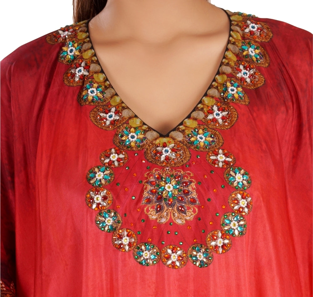 Toned Red Bandana Printed Plus Size Long Kaftan embroidered beads and crystals pool party kaftan - Silk kaftan