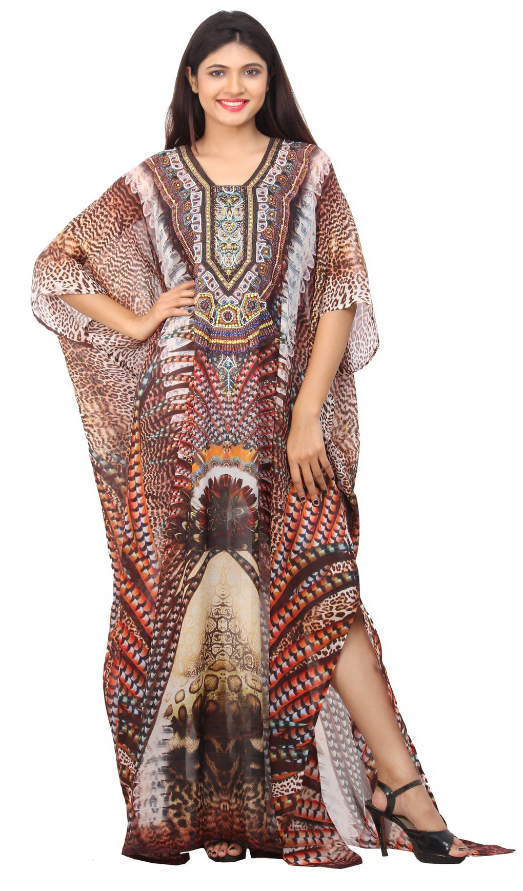 Stand Stronger put on Bohemian Print Silk Kaftan Dress with stylish embellishment - Silk kaftan