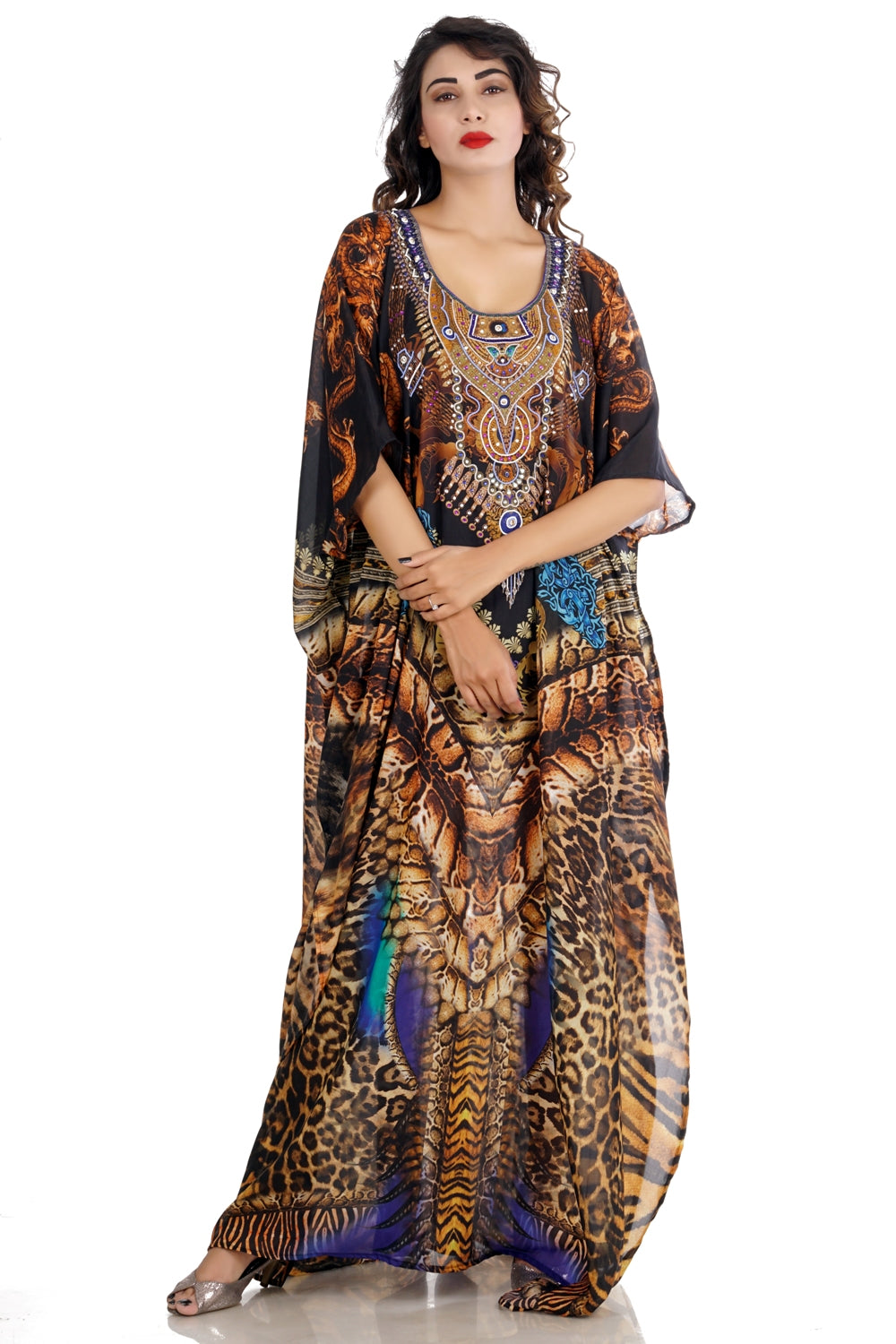 Wildness of Dragon with Other Animals Skin Printed on Elegant Silk Kaftans - Silk kaftan