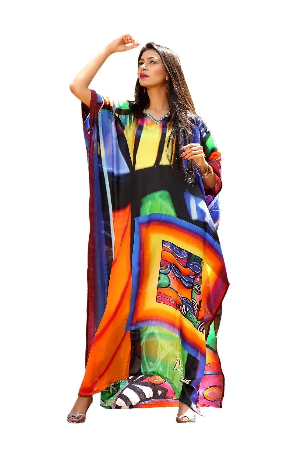 Wish to be a Diva!!! Makeover with our Beach style Picasso Printed Silk Kaftan