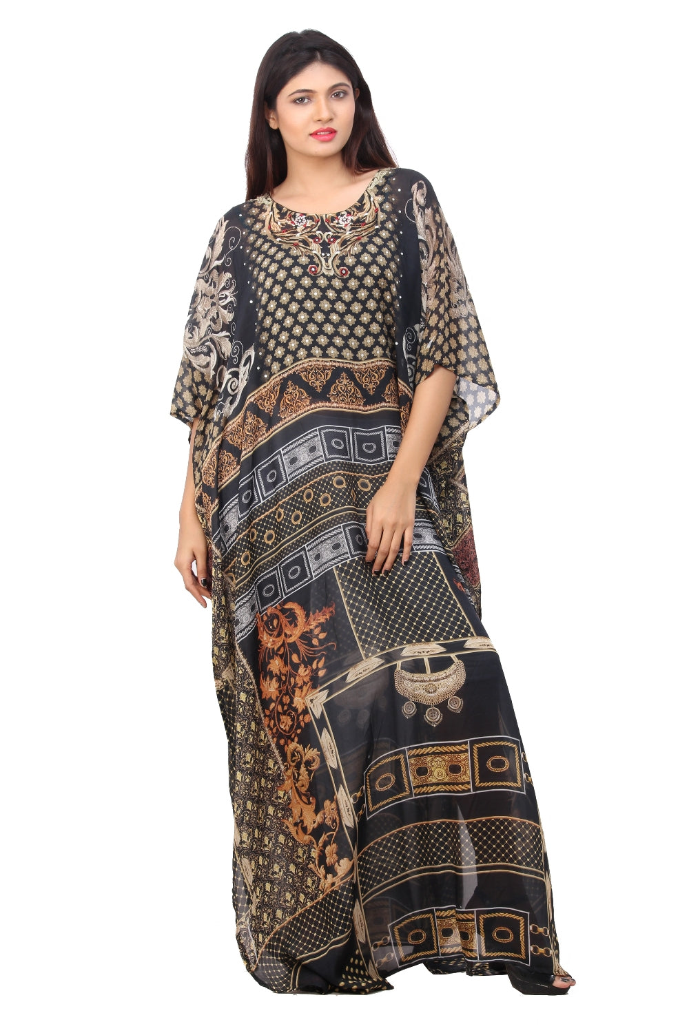 Lady in Black Abstract Print Silk Kaftan patterned Maxi long style for casual wear beach kaftan - Silk kaftan