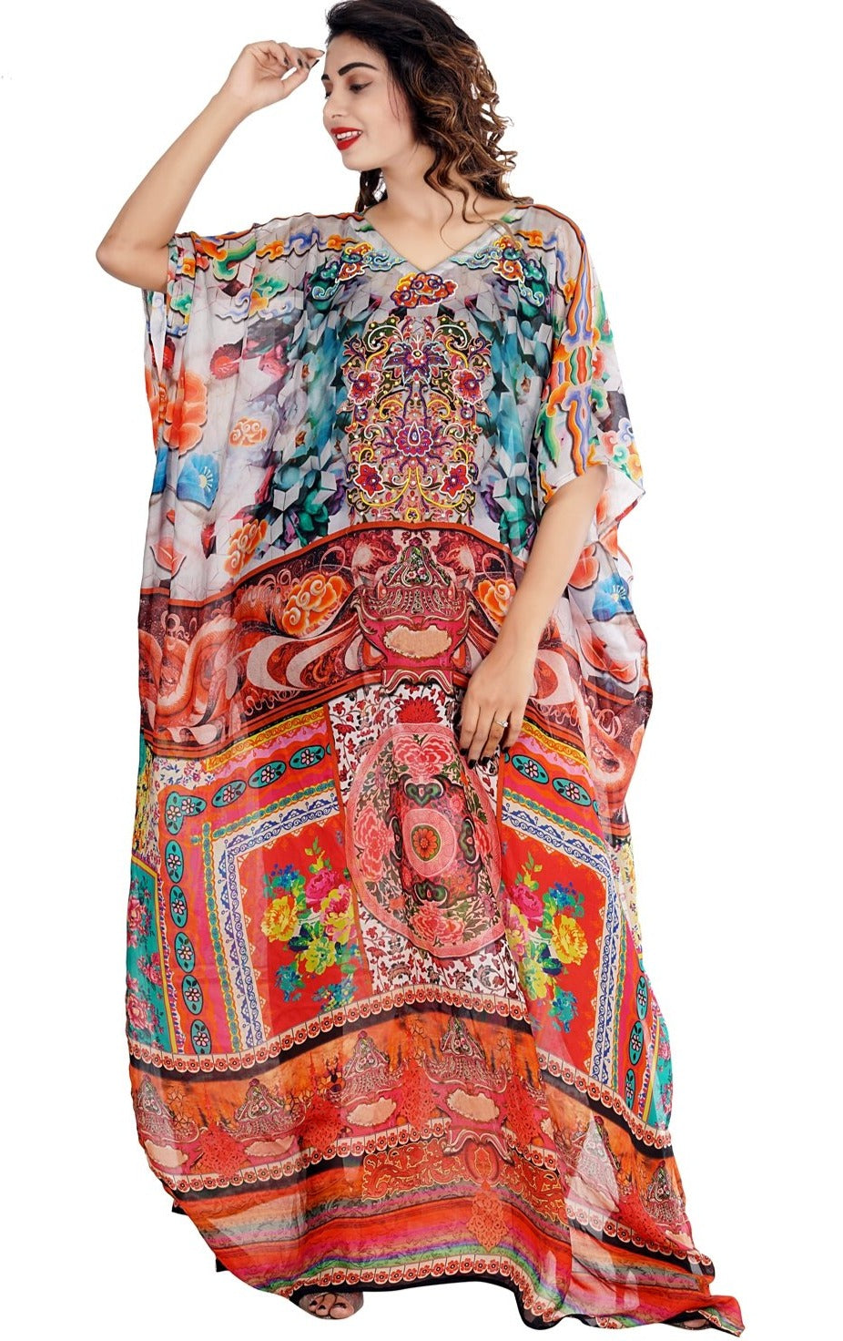 Appealing Tapestry Print Maxi long Kaftan with exquisite embellishments of beads - Silk kaftan