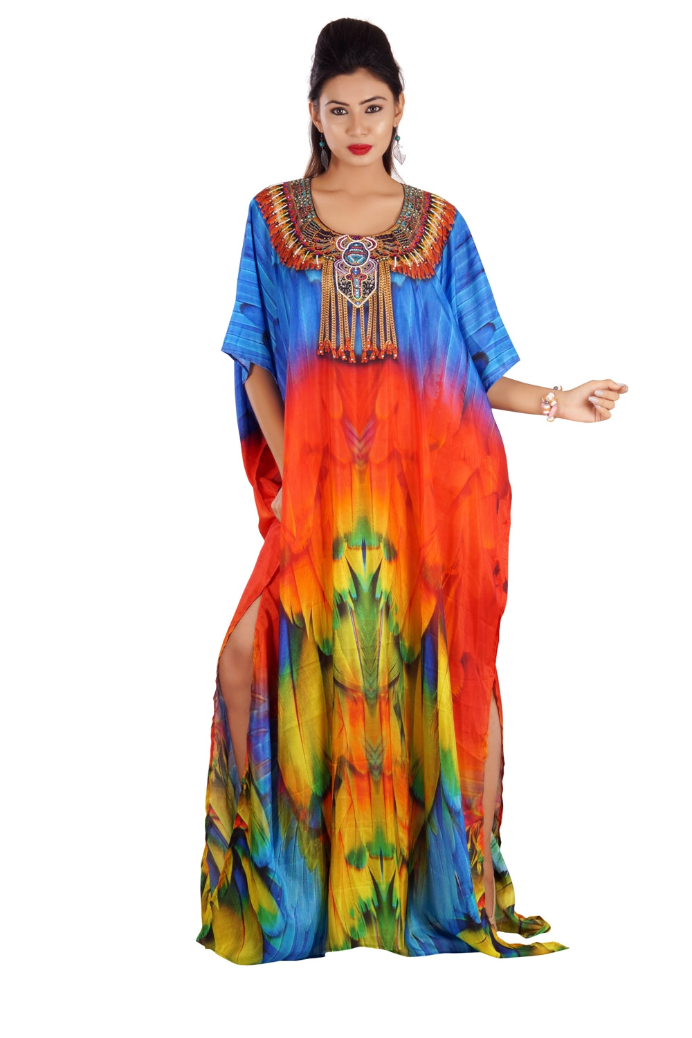 Radiant Art of Maccaw Parrot Bird Print on Silk Kaftan with Unique Drawstring print luxe beach kaftan - Silk kaftan