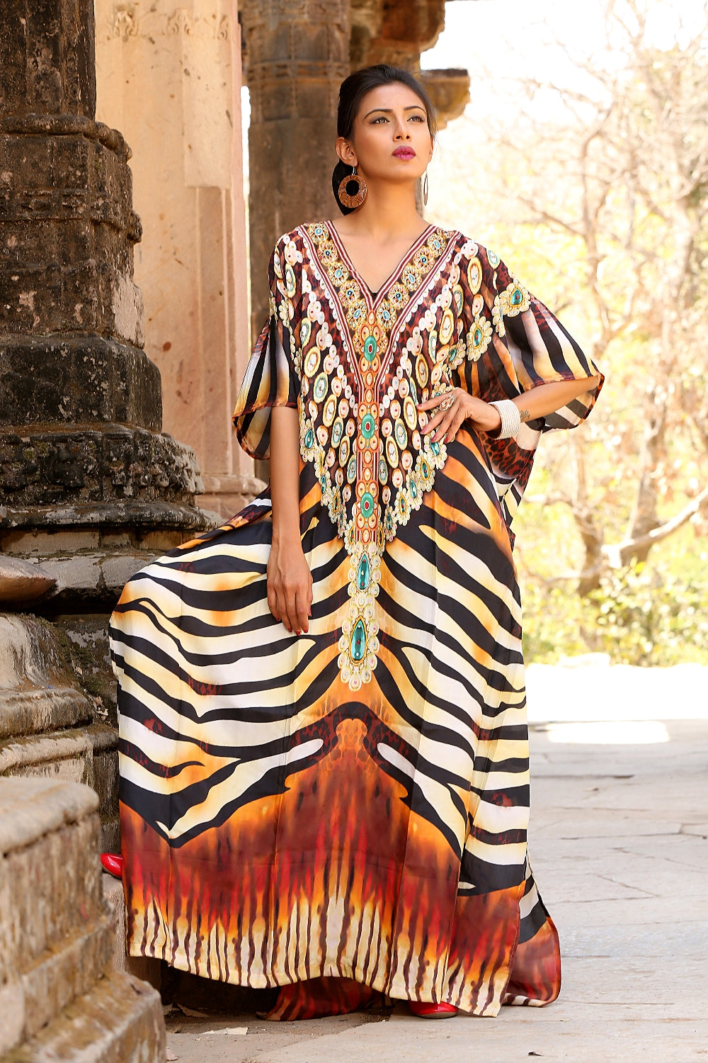 Elegantly decorated Zebra striped Maxi long Kaftan gown with V neck embroidered beads heading outline - Silk kaftan