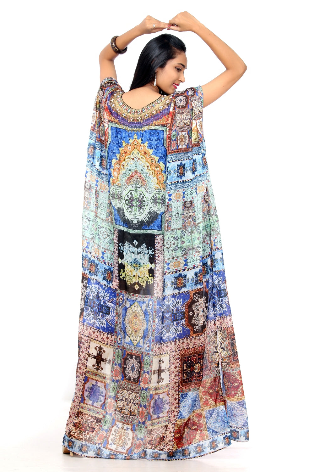 Fusion of Fashion and Folklore Printed Silk Kaftan of Full Length with Various Print - Silk kaftan