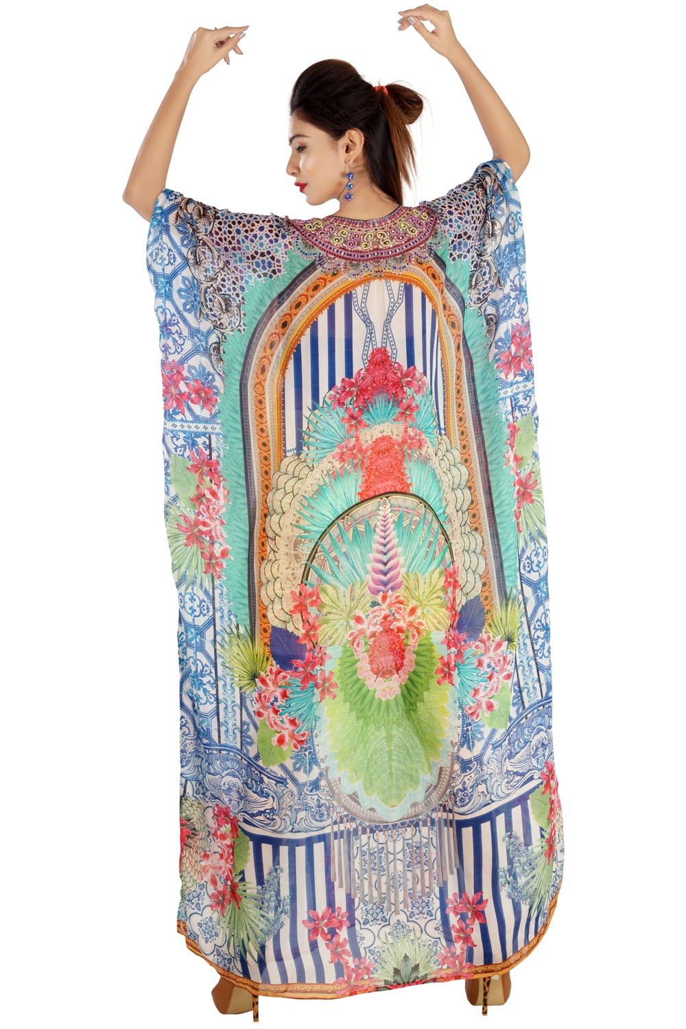 Beach wear maxi style Silk Kaftan holding porcelain patterns flowers - Silk kaftan