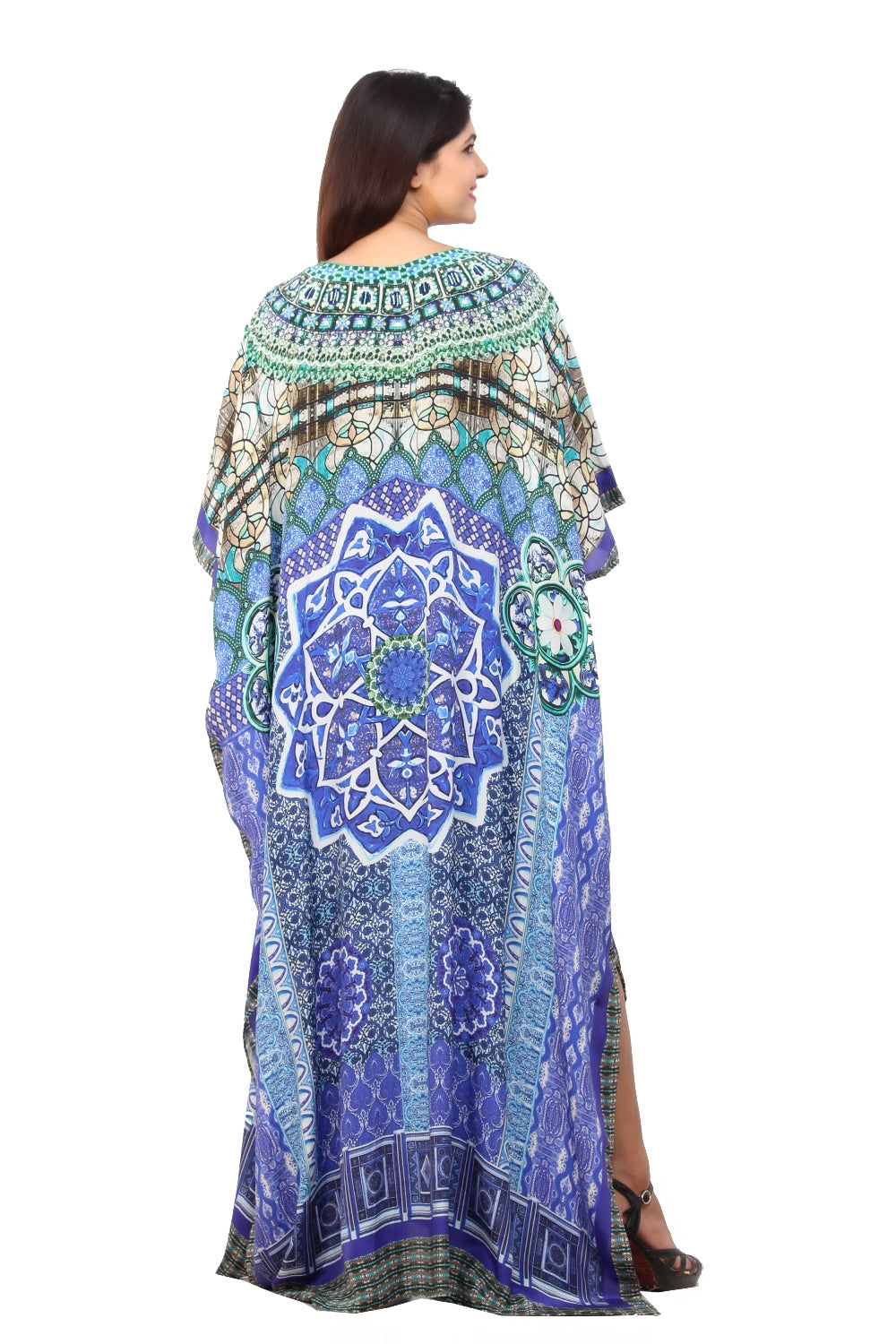 Bluish Geometric print Silk Kaftan gown with pearls embellishments and side cuts for evening galas - Silk kaftan