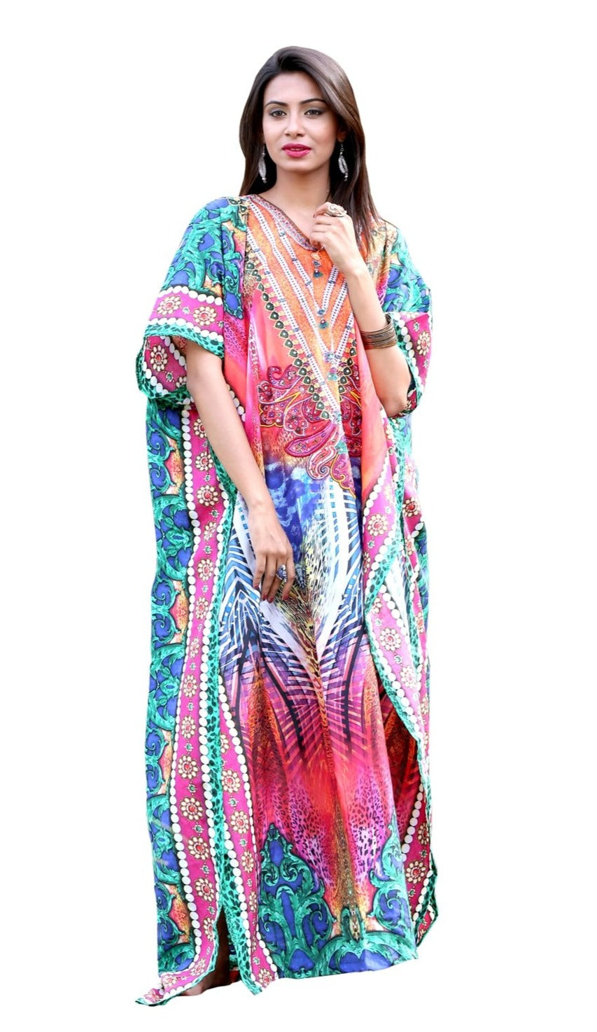 Free-flowing Silk Kaftan Dress with Ornamental Neckline and Tropical Tribal Print women's clothing - Silk kaftan