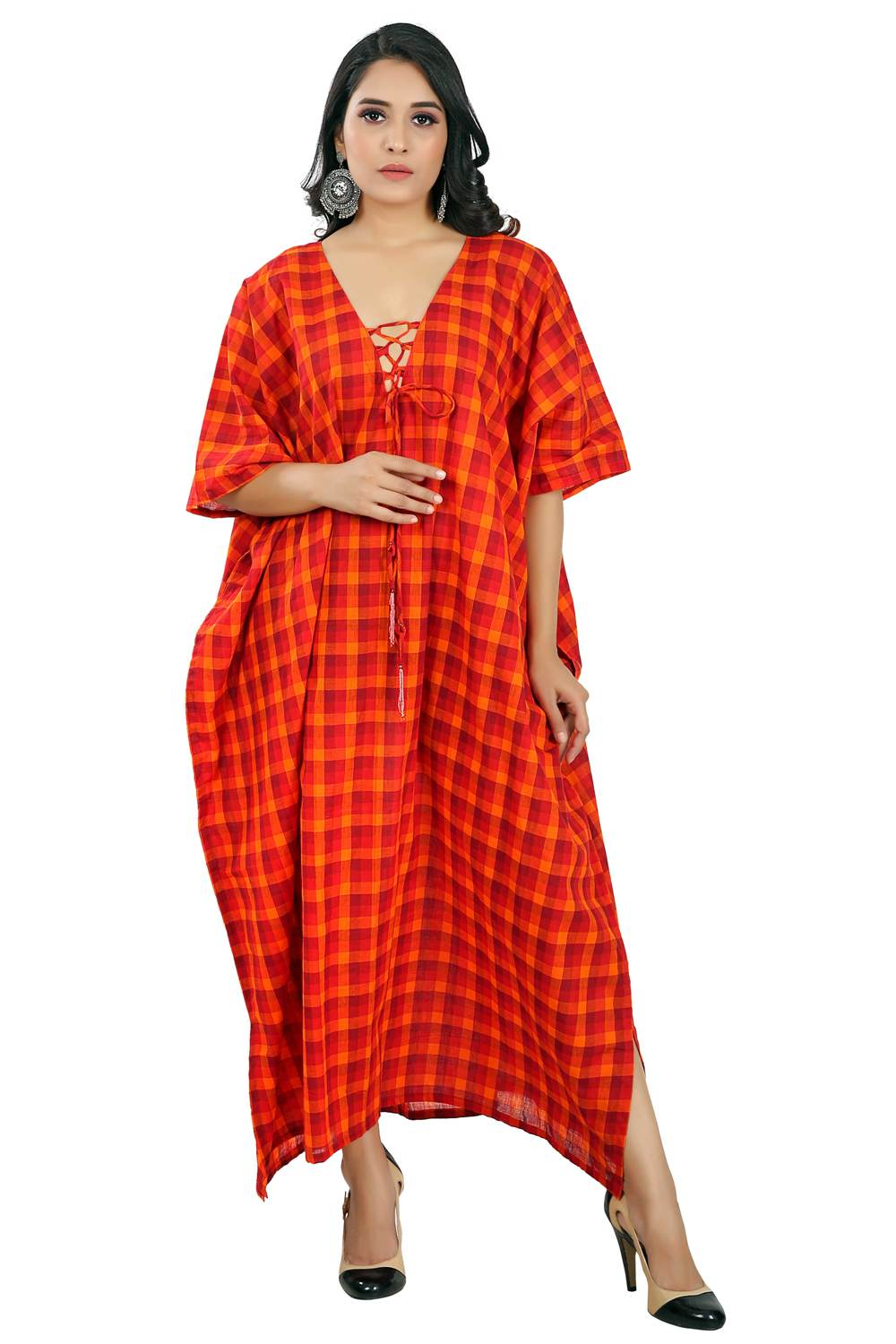 Lace up Exquisite Chex Print long Kaftan Dress with Striped Neckline