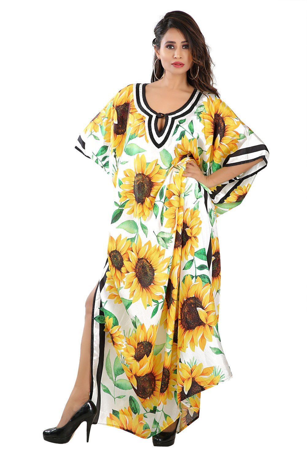 sun flower silk kaftan