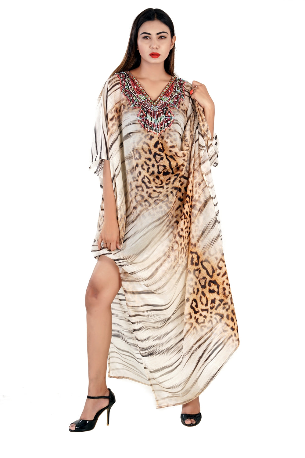 Leopard Print Empowered by Animals print kaftan Silk Kaftan with incensed embellishment of crystals pool party kaftan - Silk kaftan