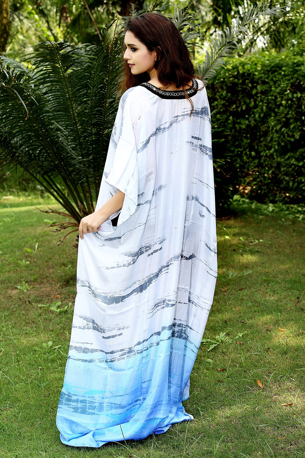 High quality Abstract print ethnic Long Silk Kaftan with Deep Neck Drawstring embellishment CAFTAN - Silk kaftan