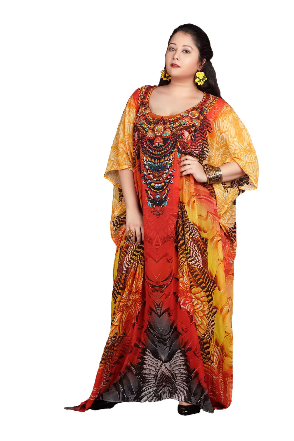 Look Fab!! Adorning Flowers on Maxi Long Silk Kaftan - Silk kaftan