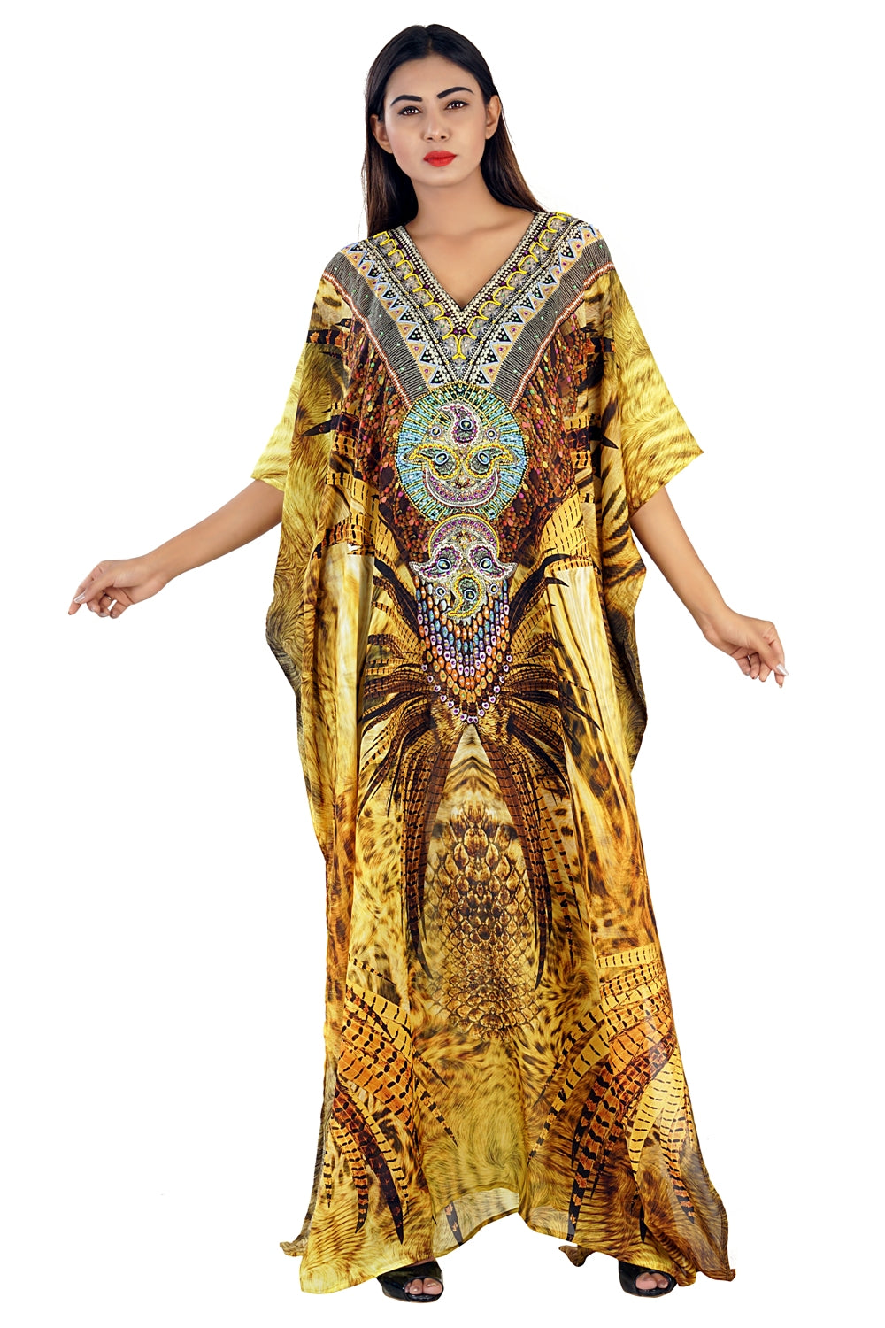 Tribal print silk kaftans for our lovely and confident feminines over there with beautiful embellishments - Silk kaftan