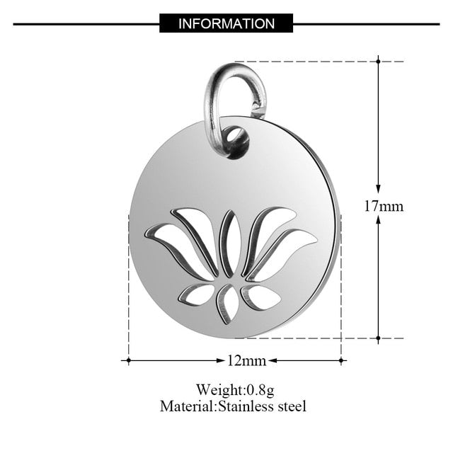 10pcs/Lot 316L Stainless Steel Charms Silver Color Cut Out OM Yoga Lotus Sun Charms Pendants for Jewelry Making DIY Handmade