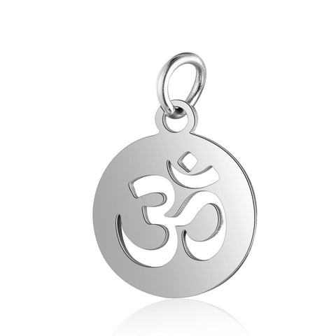 Image of 10pcs/Lot 316L Stainless Steel Charms Silver Color Cut Out OM Yoga Lotus Sun Charms Pendants for Jewelry Making DIY Handmade