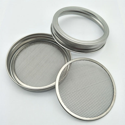 Image of 1Set Seed Sprouter Germination Cover Kit Sprouting Mason Jars with Stainless Steel Strainer Lids Stainless Steel Germinator Set