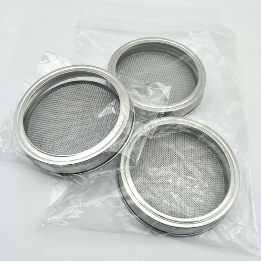 1Set Seed Sprouter Germination Cover Kit Sprouting Mason Jars with Stainless Steel Strainer Lids Stainless Steel Germinator Set