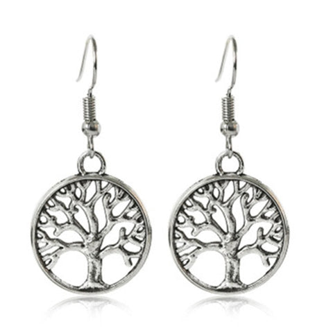 Image of 2018 round hollow wishing tree pendant necklace life tree Tree Of Life pendant necklace silver jewelry fashion cute wedding part