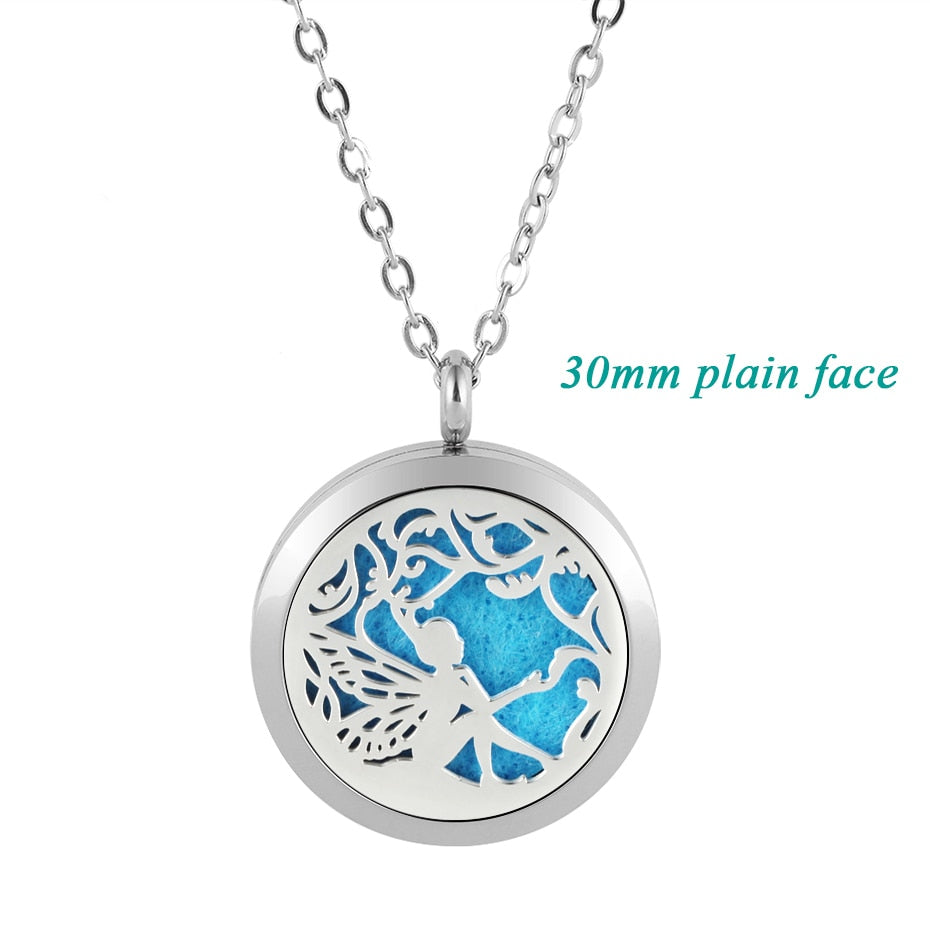 30mm essential oil diffuser necklace 316l stainless steel fairy shape aromatherapy pendant jewelry for women free with 5pads