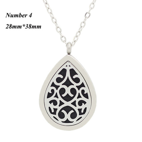 Image of 316L stainless steel oil diffuser necklace teardrop 28mm*38mm aromatherapy diffuser pendant necklace for women