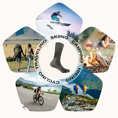 Image of 3pairs/bag Vihir Men's Cushioned Merino Wool High knee outdoor Sport hiking Camping Climbing socks cycling socks skiing sokcs