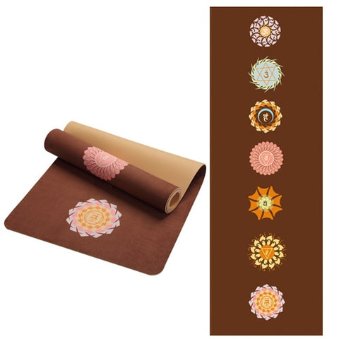Image of 5 MM Lotus Pattern Suede TPE Yoga Mat Pad Non-slip Slimming Exercise Fitness Gymnastics Mat Body Building Esterilla Pilates