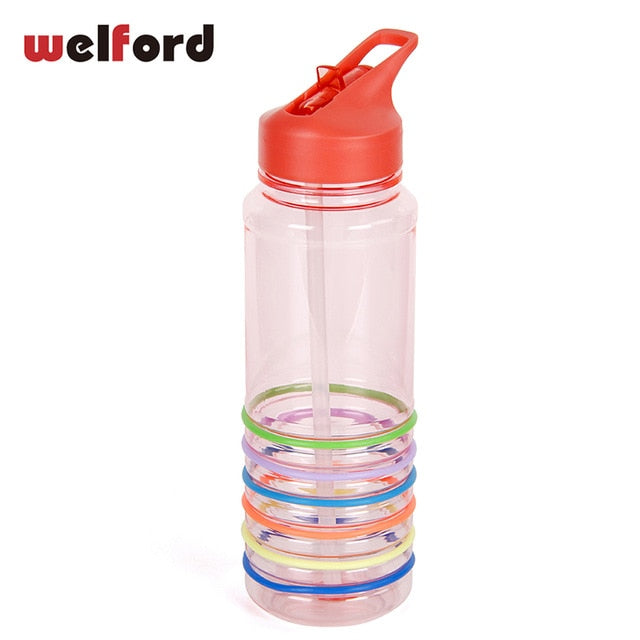 750ml Tritan Plastic Sports Water Bottle Sport With Straw Time Handle BPA Free Bottle For Water My Drink GYM Drinkware