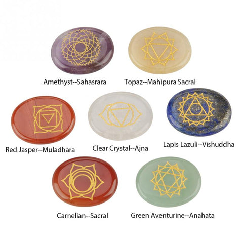 Image of 7Pcs/Set Engraved Stones Chakra Pendants Spiritual Healing Meditation Palm Stones Reiki Chakra Crystal Pendant Necklace