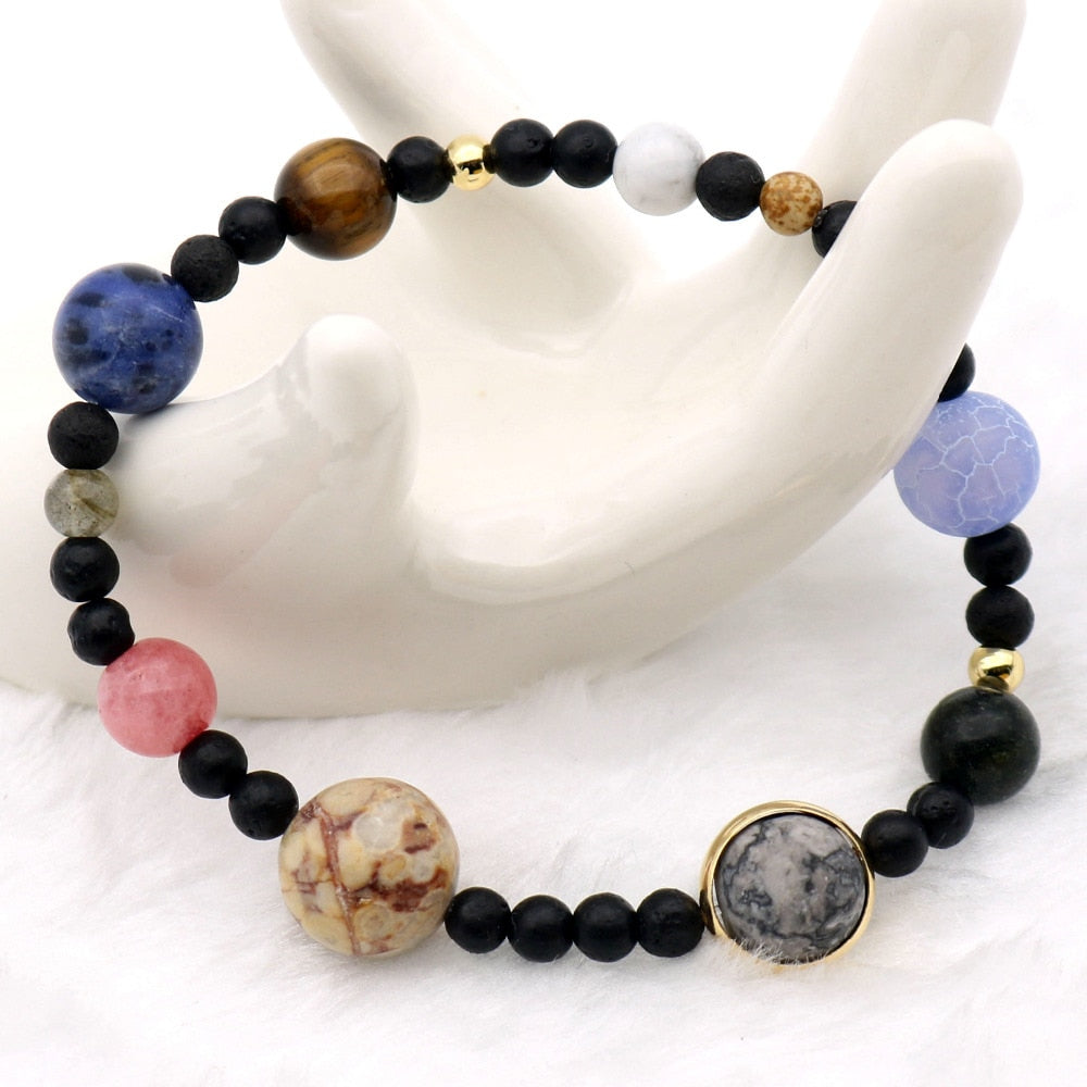 9 Planets Solar System Bracelets Universe Women Natural Stones Beaded Stretch Strand Bracelets Saturn Pluto Earth Moon Jupiter