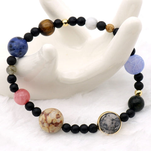 Image of 9 Planets Solar System Bracelets Universe Women Natural Stones Beaded Stretch Strand Bracelets Saturn Pluto Earth Moon Jupiter