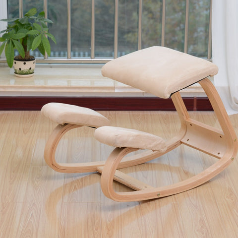 Image of A,Original Ergonomic Kneeling Chair Stool Home Office Furniture Ergonomic Rocking Wooden Kneeling Computer Posture Chair Design