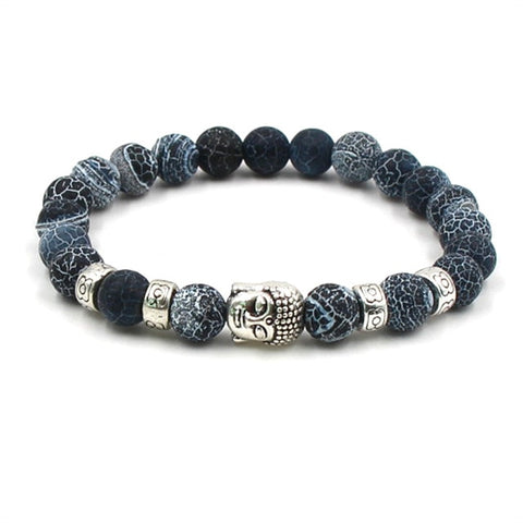 Image of Buddha head Stone Mens Beaded Jewelry 8mm Lava Stone Beads Bracelets Party Gift Stretch Yoga Jewelry