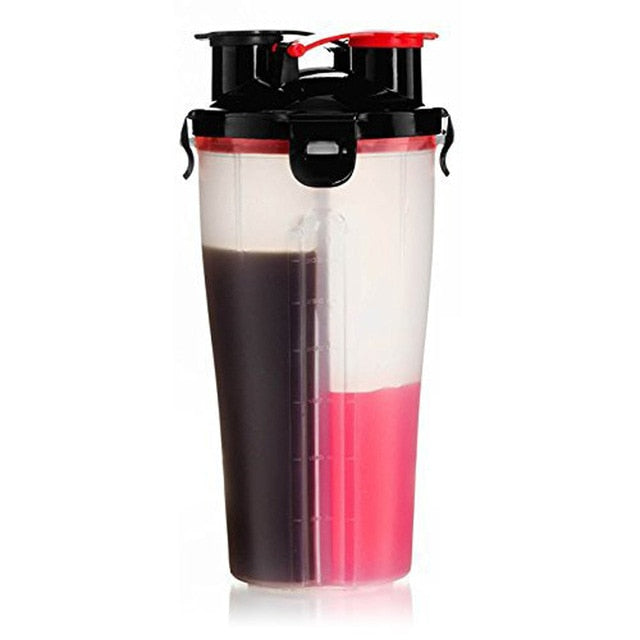 Dual  Protein Powder Shaker Bottle Sports Bottle Fitness Mixer Bottle Water Bottle BPA-free Thicken Durable Powerful Leakproof