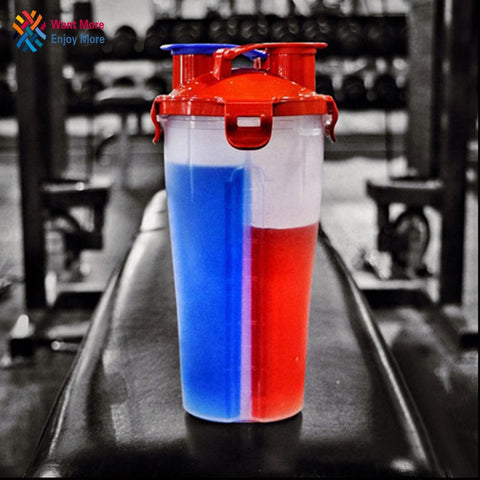 Image of Dual  Protein Powder Shaker Bottle Sports Bottle Fitness Mixer Bottle Water Bottle BPA-free Thicken Durable Powerful Leakproof