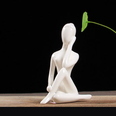 Image of ERMAKOVA Abstract Art Ceramic Yoga Poses Figurine Porcelain Meditation Yoga Lady Figure Statue Home Yoga Studio Decor Ornament