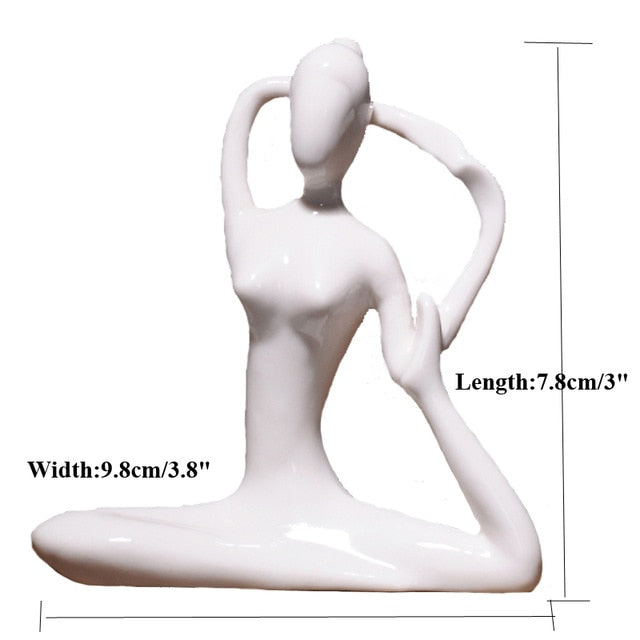 ERMAKOVA Abstract Art Ceramic Yoga Poses Figurine Porcelain Meditation Yoga Lady Figure Statue Home Yoga Studio Decor Ornament