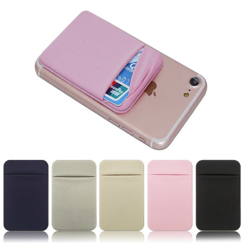 Image of Elastic Stretch Lycra Adhesive Cell Phone ID Credit Card Holder Women Men Sticker Pocket Wallet Case Card Holder Fit most Phone