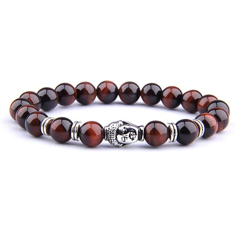 Image of Fashion AAA Royal Blue Tiger Eye Men's Bracelet Beads Natural Stone Buddha Stretch Charm Bracelets for Women Men Jewelry