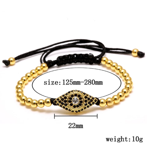 Image of Fashion Evil Eye Charm Bracelet Stainless Steel Beads Leather Bracelet For Men Women Daily Casual Jewelry Accessory